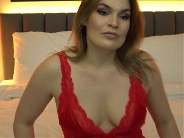 Hot milf Hannah Vivienne in red lingerie masturb